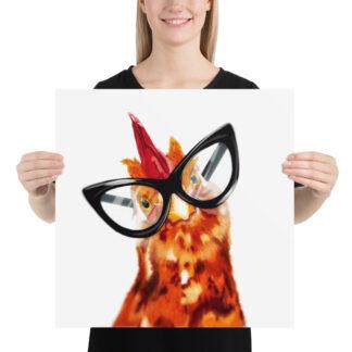 Cheeky Chicken Poster -18x18 - Illustration by Pablo Prada