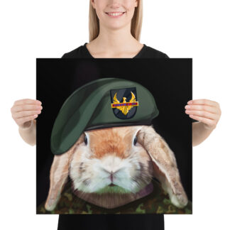 Captain Rabbit Green Beret - 18x18 by Pablo Prada