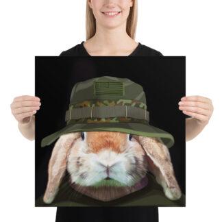 Ranger Rabbit Army - 18x18 by Pablo Prada