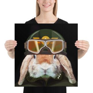 Captain Rabbit Helmet & Goggles Poster (Black) - 18x18 by Pablo Prada