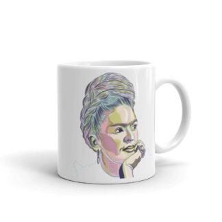 Frida White Ceramic Mug -11oz - Illustration by Pablo Prada
